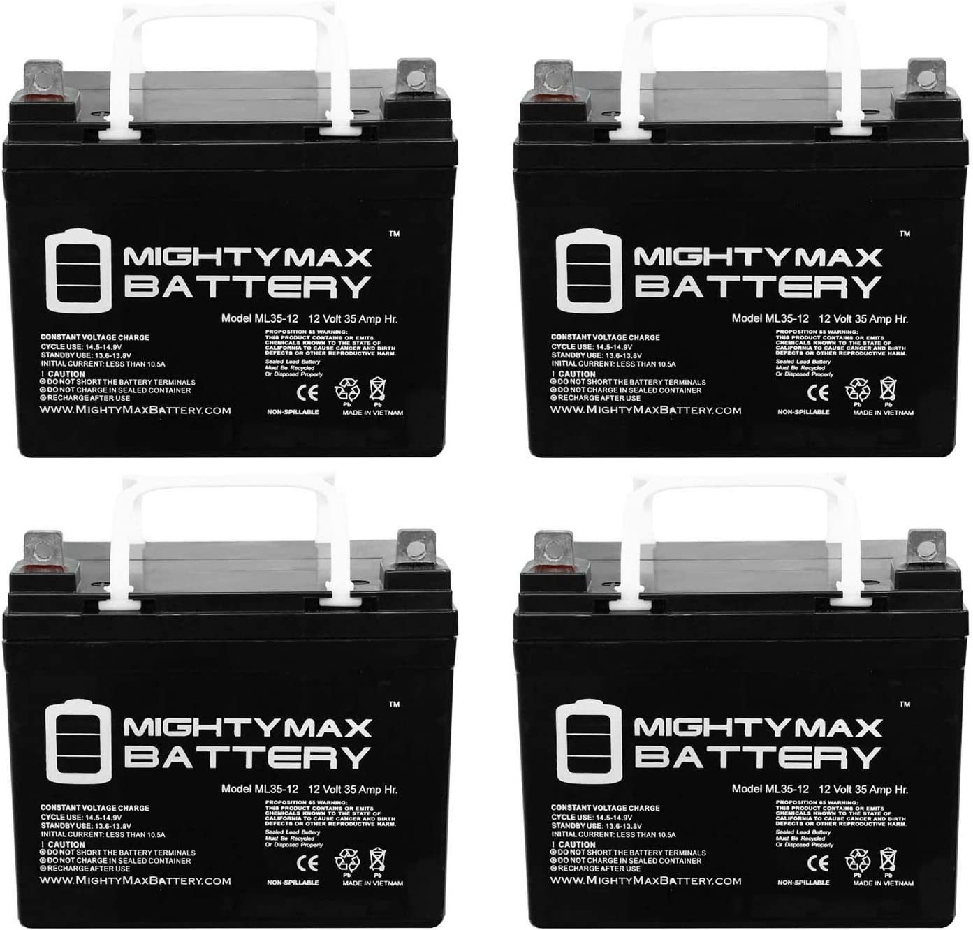 Mighty Max Battery ML35-12 - 12 Volt 35 AH SLA Battery - Pack of 4 Brand Product