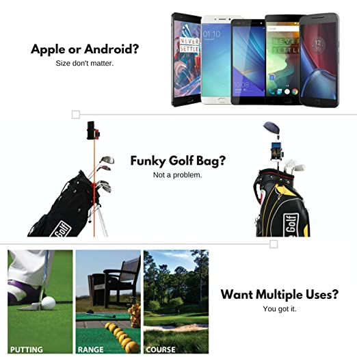 SelfieGOLF Record Golf Swing - Cell Phone Clip Holder and Training Aid -  Golf Accessories | Winner of The PGA Best Product | Works with Any Smart