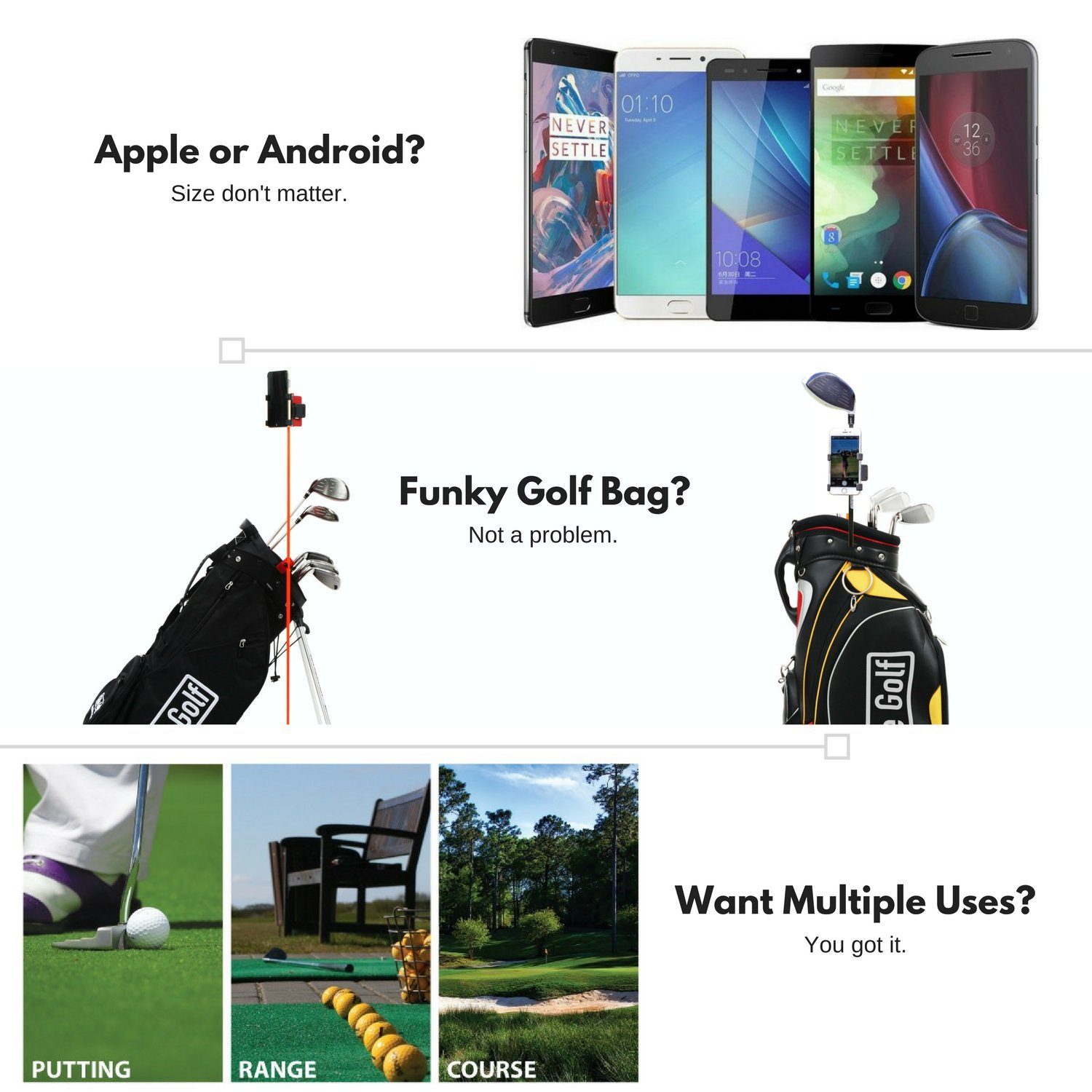 SelfieGolf Record Golf Swing - Cell Phone Clip Holder and Training Aid by TM - Golf Accessories | The Winner of The PGA Best of 2017 | Compatible with Any Smart Phone (Red/White) by Selfie Golf (Image #5)