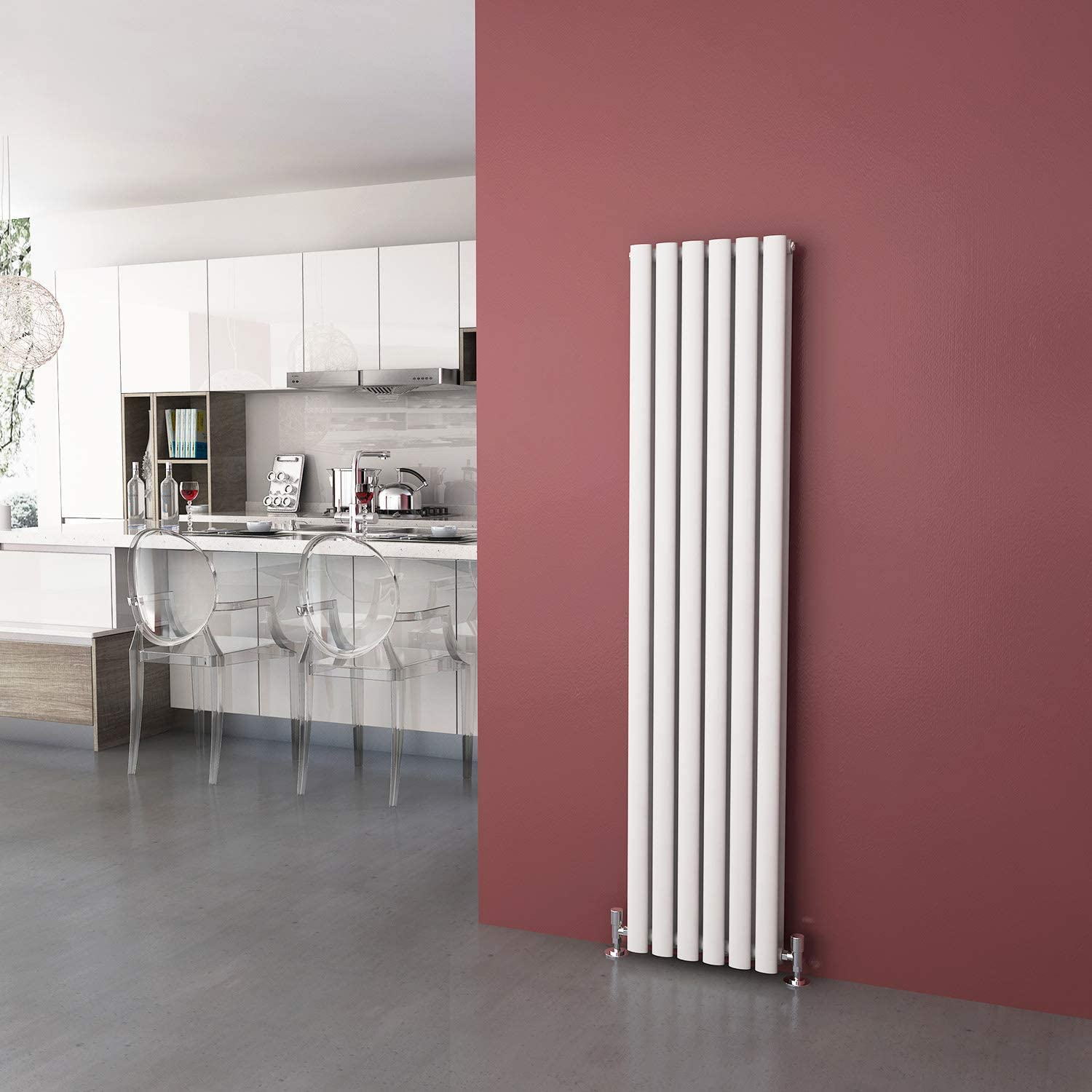 ELEGANT Radiators Vertical White Double 1600 x 360 Panel Central Heating Heater Kitchen Oval Column Designer Radiator