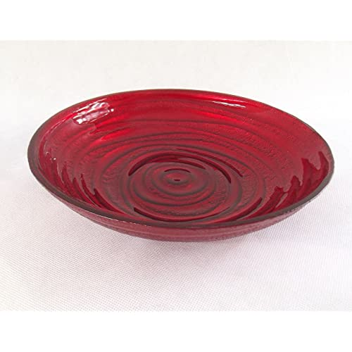 Swirl Glass Bowl Red Display Fruit Decor Bowl Plate Gift Ornament