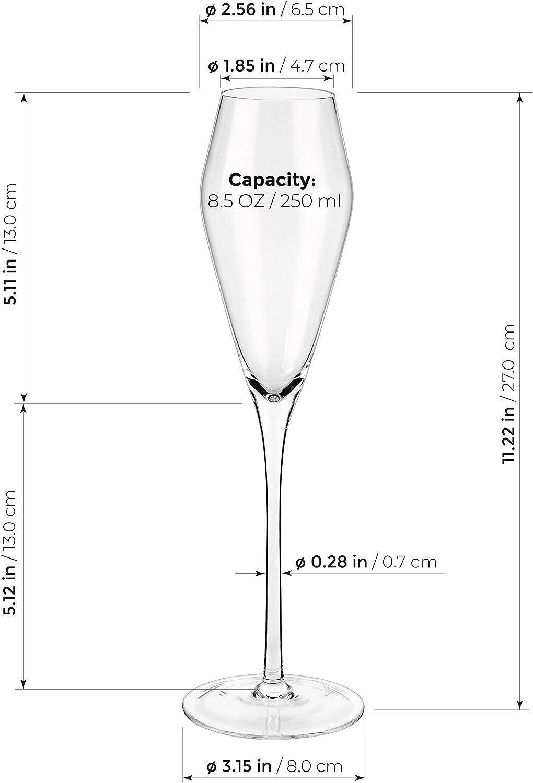 Gift for Wedding Hand Blown Set of 2 Anniversary 10oz // 300ml Tulip Shape Modern Elegant Sparking Wine Glasses Luxbe Champagne Crystal Glasses Christmas