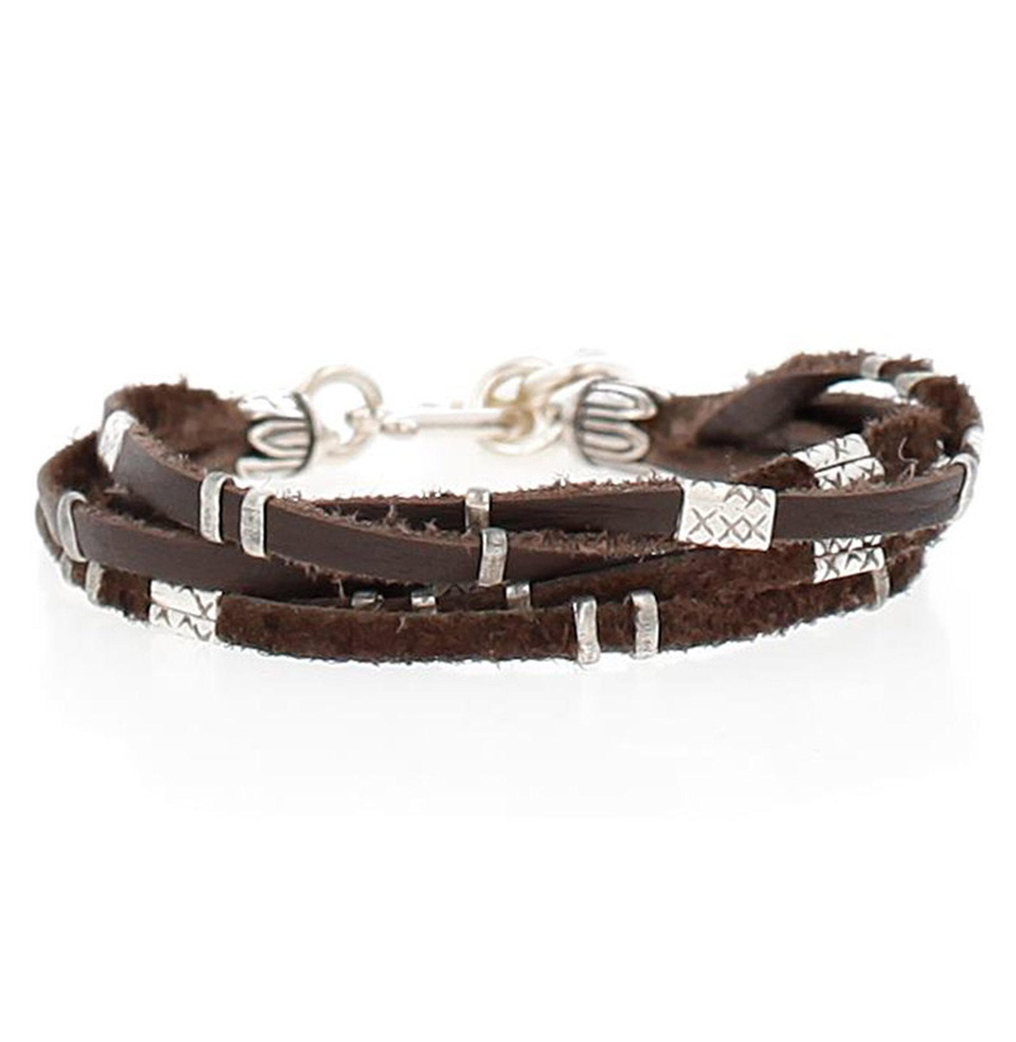Chan Luu Multi Strand Single Wrap Bracelet in Silver & Brown Leather by Chan Luu
