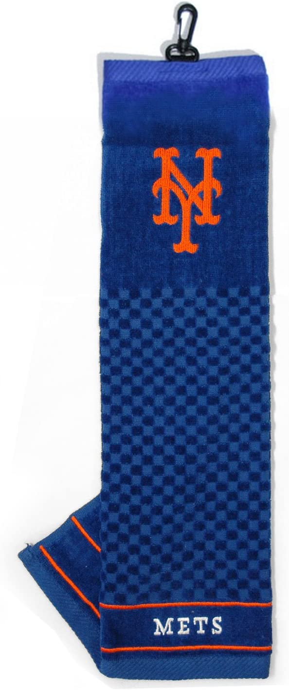 Team Golf MLB New York Mets Embroidered Golf Towel, Checkered Scrubber Design, Embroidered Logo
