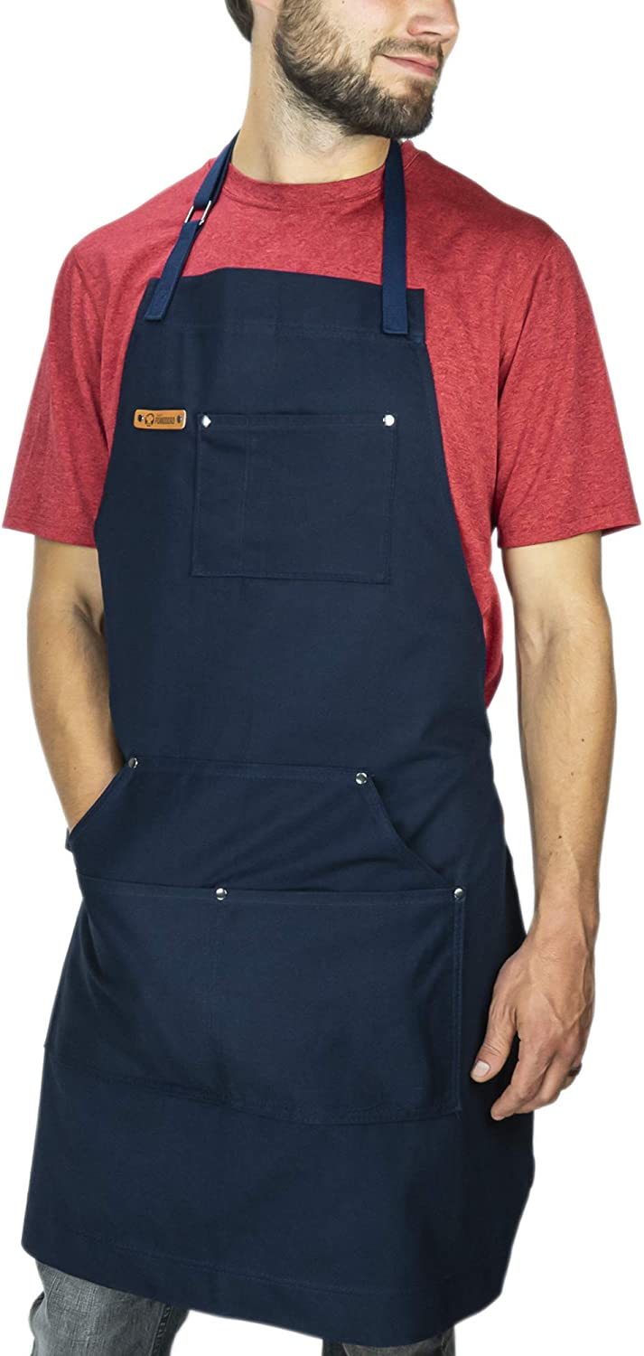 Chef Pomodoro Kitchen Apron - Top Chef Recommended - Adjustable Pockets, Bibs - Designed for Home, BBQ, Grill Use (Navy Blue)