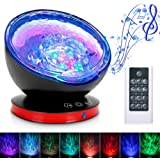 Ocean Wave Projector,12LED Night Light Lamp with Adjustable Lightness Remote Control Timer,7 Color Changing Lighting Modes Star Projector Perfect Choice for Baby BedroomDecoration