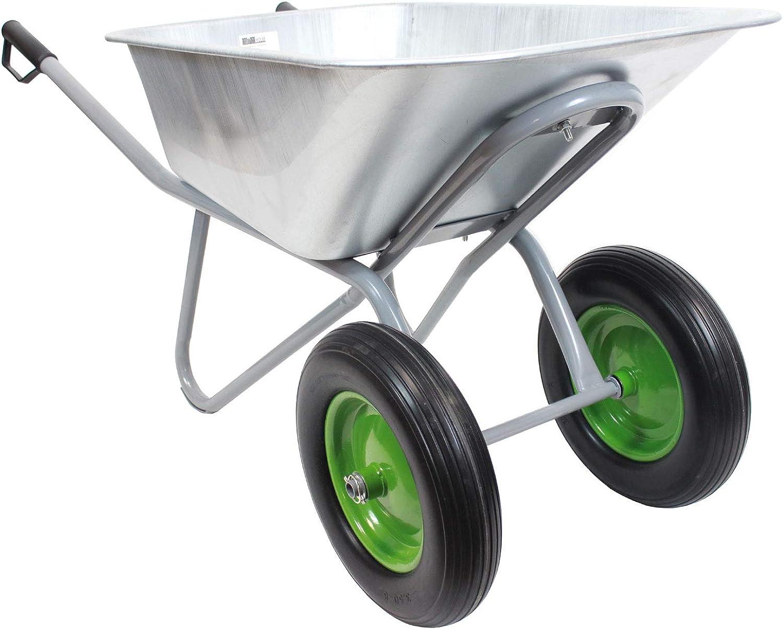 TrutzHolm/® Schubkarre 2-Rad PU Rad Schiebkarre Gartenkarre Zweiradkarre Hofkarre Futterkarre Metallwanne 150L 150kg
