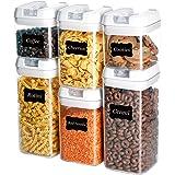U-miss, recipientes herméticos de almacenamiento de alimentos, 6 piezas de plástico sin BPA con tapas de fácil bloqueo, para organización y almacenamiento de la despensa, incluye 8 etiquetas y marcador