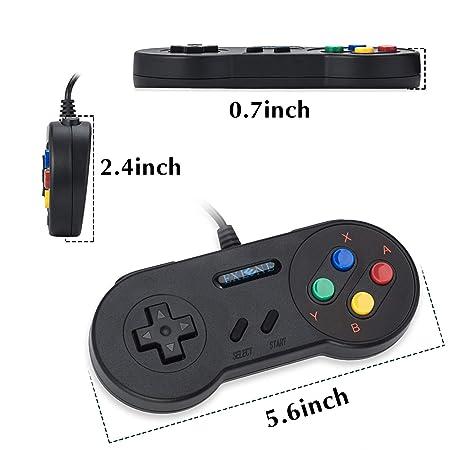 EXLENE 2 Pack SNES USB mando Controlador Gamepads 10ft/3m ...