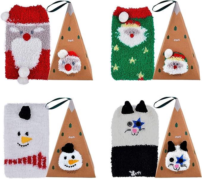 Fascigirl Calcetines de Navidad 4-Pair Mujeres Adolescentes Navidad Cute Patr/ón Soft Stretchy Novelty Crew Xmas Socks