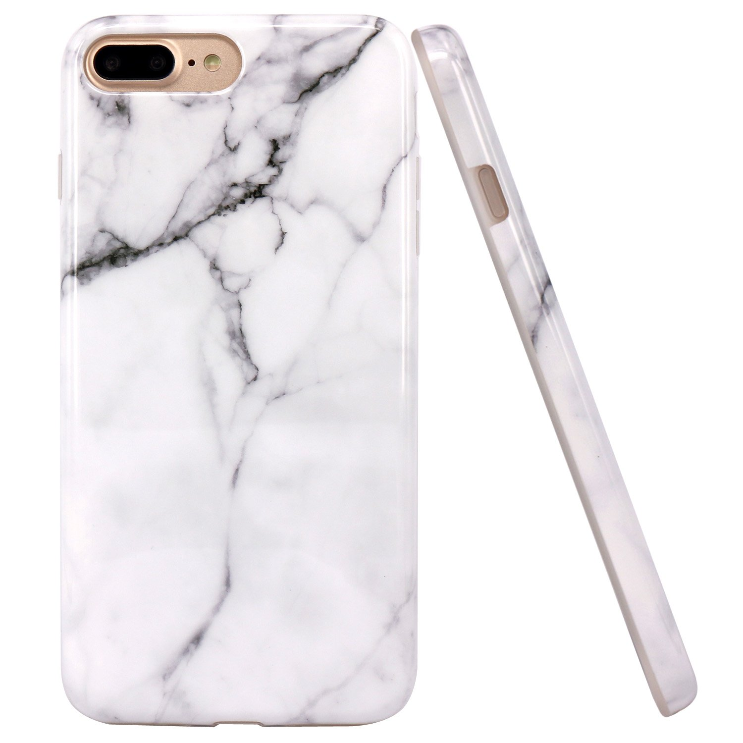 size 40 22488 e20e8 iPhone 7 Plus Case, JAHOLAN White Marble Design Clear Bumper Glossy TPU  Soft Rubber Silicone Cover Phone Case for Apple iPhone 7 Plus (2016) /  iPhone ...