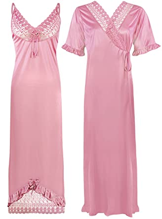 bcab1de369 The Orange Tags Sexy Ladies Satin Nightie Womens Long Nighty Nightdress  Robe Gown 2 PC-Baby Pink-One Size  Regular (8-16)  Amazon.co.uk  Clothing