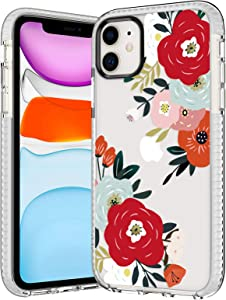 iPhone 11 Case,Women Charming Sexy Camellia Flower Clear Back with Cute Floral Blossom Bloom Pattern Soft TPU Rubber Bumper Anti Scratch Protective Case Cover Compatible with iPhone 11 6.1 inch