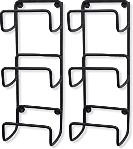 Wallniture Wrought Iron Metal Towel Rack 3-Section 16 Inch Wall Mountable Yoga Mat Foam Roller Holder in Black Set of 2