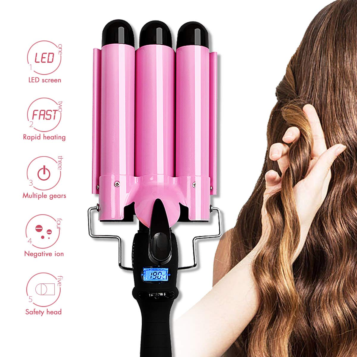 Amazon.com: Hair Curling Iron 3 Barrel Waver Iron Wand Fast Heating With LCD Temperature Display 176°F To 410°F Ceramic Wave Hair Iron Roller: Beauty