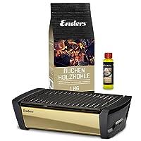Aurora Mirror Tischgrill Enders klein schwarz Balkon Camping Picknick ✔ eckig ✔ tragbar rauchfrei ✔ Grillen mit Holzkohle ✔ für den Tisch
