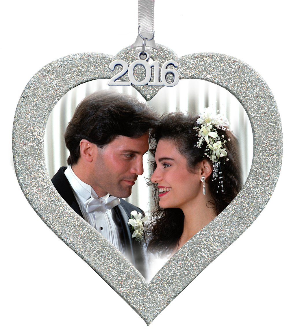 Expressly Yours! Photo Expressions 2016 Magnetic Glitter Heart Photo Frame Ornaments, Valentines, Wedding, Anniversary Gift - Silver
