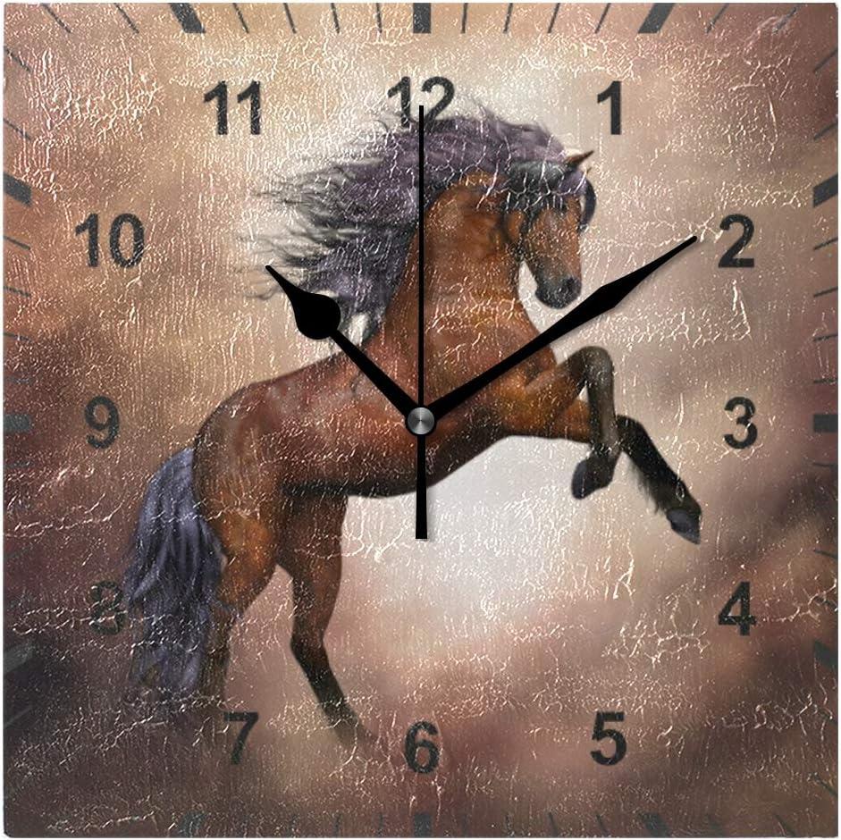 ISAOA - Reloj de pared silencioso, diseño de caballo, color marrón, decoración para el hogar, comedor, sala de estar, dormitorio, oficina, escuela