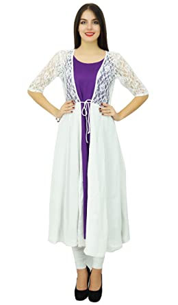 Bimba Women 2 Piece Kurta Kurti Designer Wear Boho Long Shrug Dress