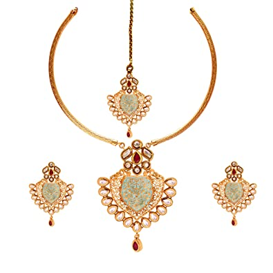 a84a14df9 Buy Sitashi Imitation Jewellery 1 Gram Gold Plated Semi Precious Metal  Kundan Necklace Set for Wedding and Occassions Online at Low Prices in India    Amazon ...