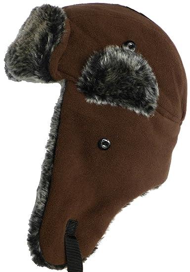 b6f6c14ac37 Amazon.com  Kids Klondike Sterling Youth Polar Fleece Faux Fur Trooper Hat  Trapper Cap  Clothing