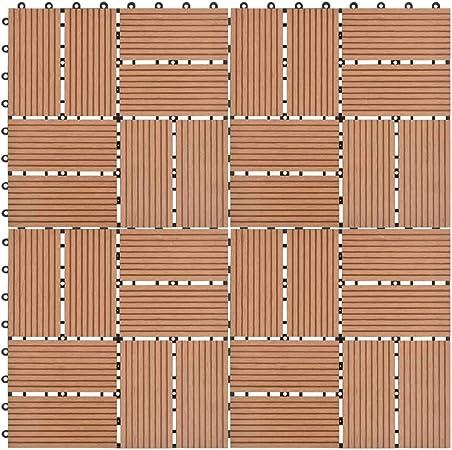UnfadeMemory Pack de 11 uds Baldosas Terraza Exterior de WPC para Jardín Balcon Patio Porche Baño,Cada Uno 30x30cm,1 m² en Total (Marrón, Patrón 3): Amazon.es: Hogar