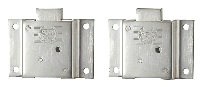 Harrison H-0559_PK2 90mm Iron Six Lever Double Action Furniture Lock Set (Silver,Pack of 2)