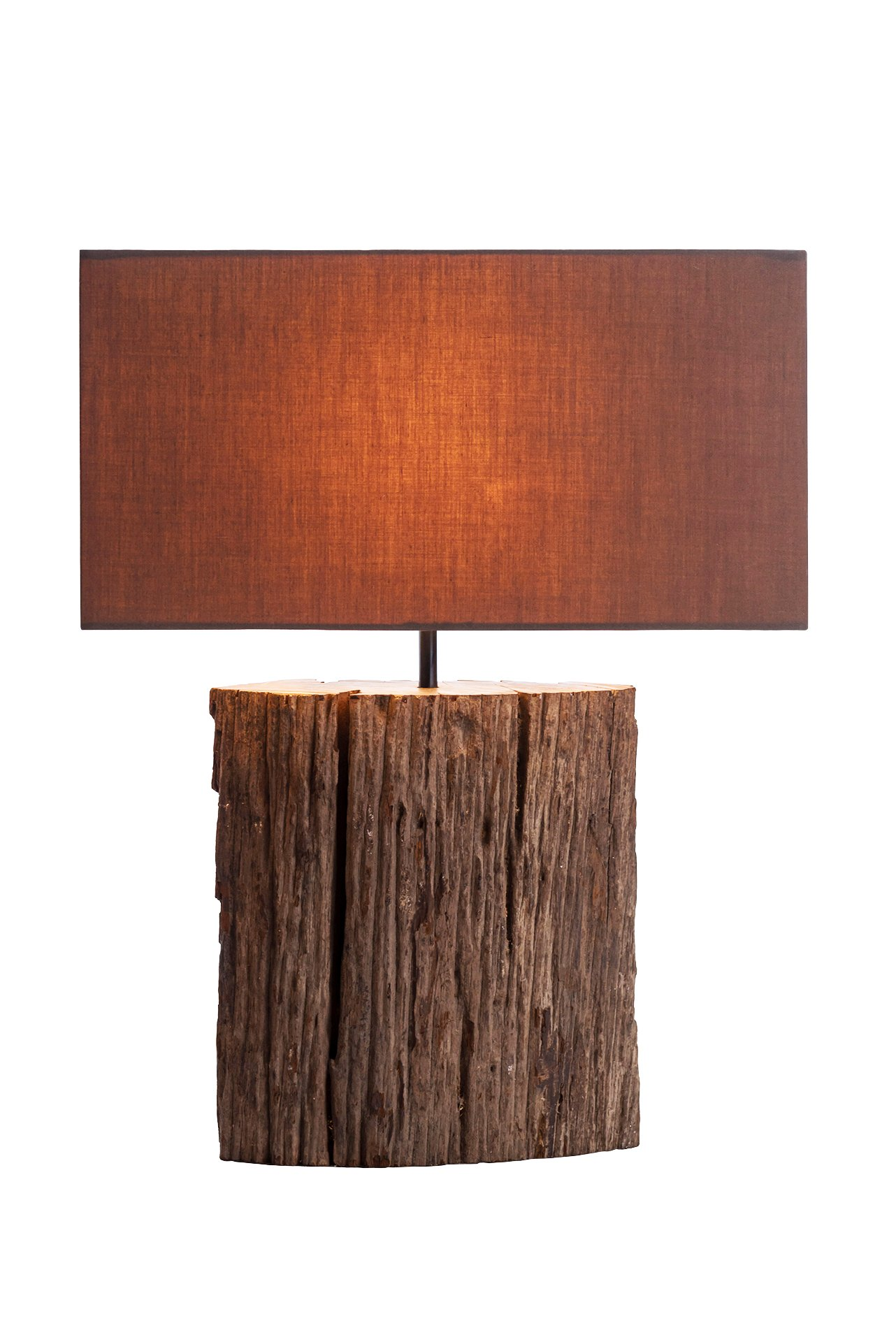 NPD O'THENTIQUE Wax Driftwood Bark Table Lamp | Rustic Salvaged Natural Wood | Brown Shade Perfect as Entry Table Lamp, Sofa Table Lamp for Beach House, Cottage, Cabin, Bedroom, Living Room Decor