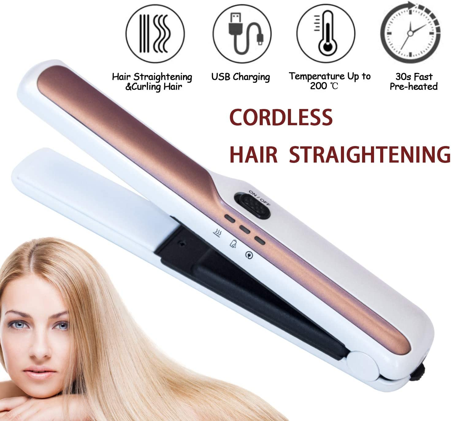 Cordless Travel Hair Straightener and Curler 2 in 1 Ceramic Flat Iron Mini Travel Portable USB Rechargeable Hair Straightening for Short&Shin Hair