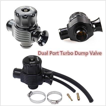 Válvula de doble puerto de aluminio de 25 mm para válvula Turbo Bov (negro): Amazon.es: Coche y moto