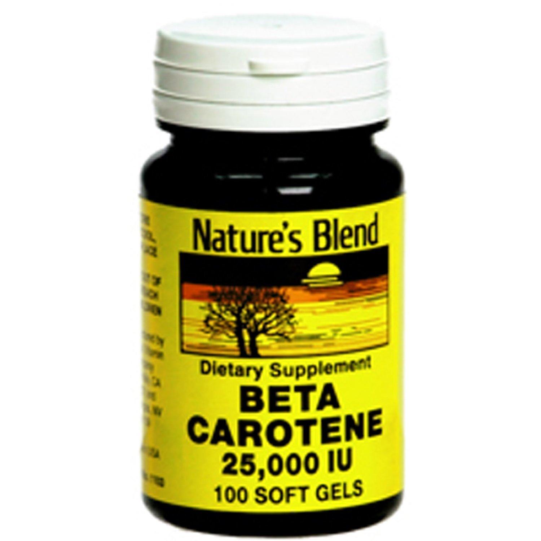 Nature's Blend Beta Carotene 25,000 IU 100 Softgels Pack of 6