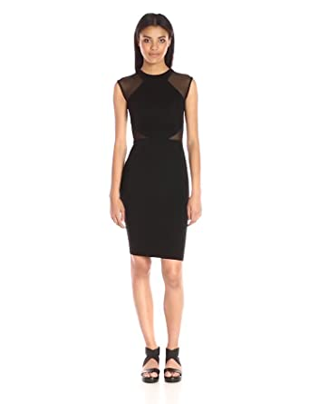 aee98f35b25 French Connection Women's Viven Bodycon Semi Sheer Stretch Dress, Black  Cutout, ...
