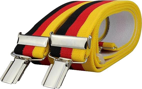 Tirantes de los colores de la bandera de Alemania con 4 pinzas sólidas de 35 mm: Amazon.es: Ropa y accesorios