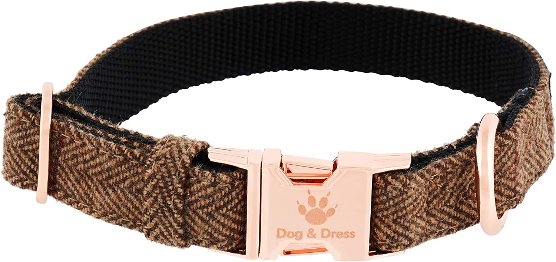 Collar de Perro Argos, Oro Rosa, Ajustable, Perros Grandes y Perros pequeños, Nailon Tweed, Perro Regalo (S/M 31-40 cm)