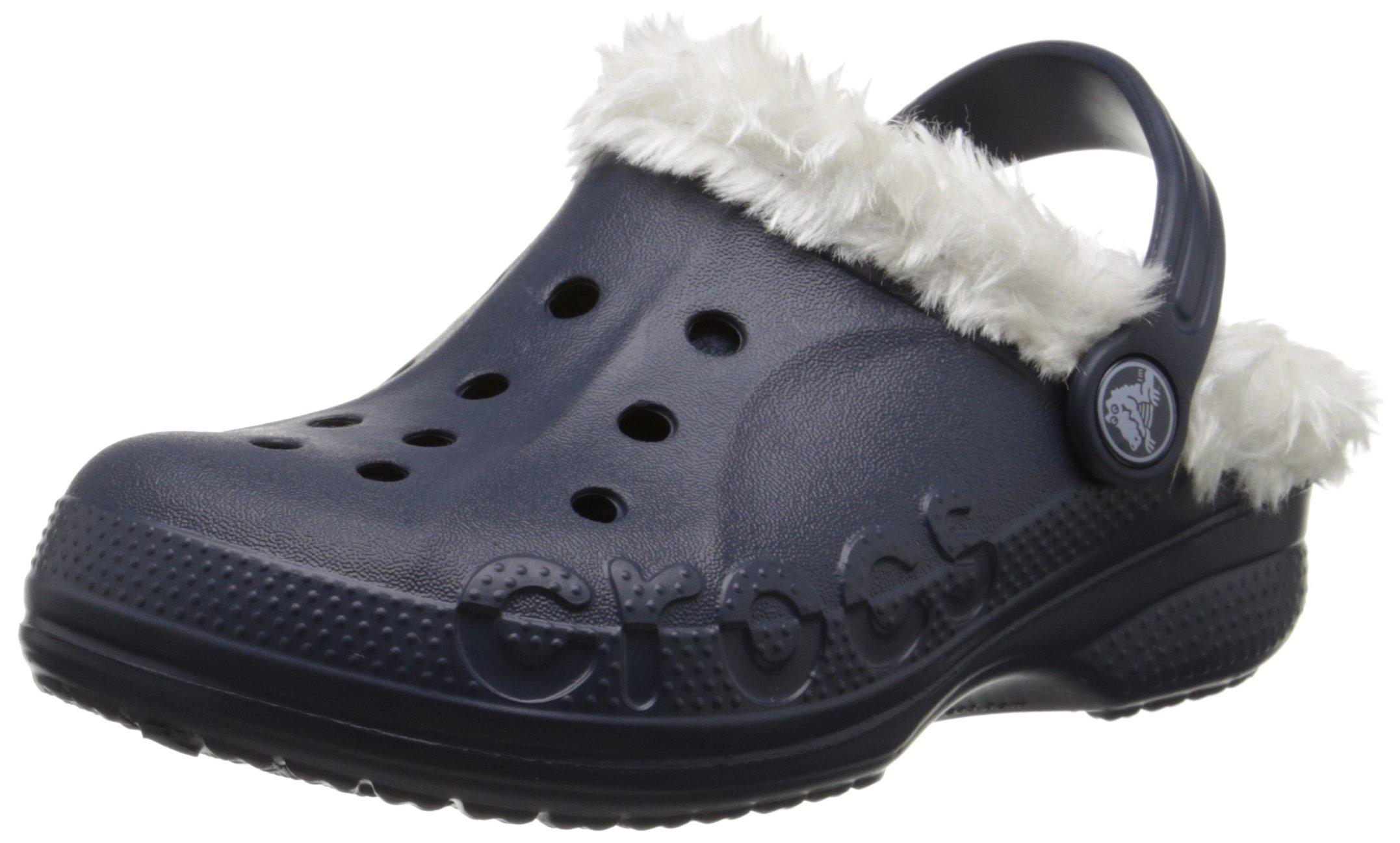 crocs Baya Plush Lined Clog (Toddler/Little Kid), Navy/Oatmeal, 12-13 M US Little Kid by Crocs
