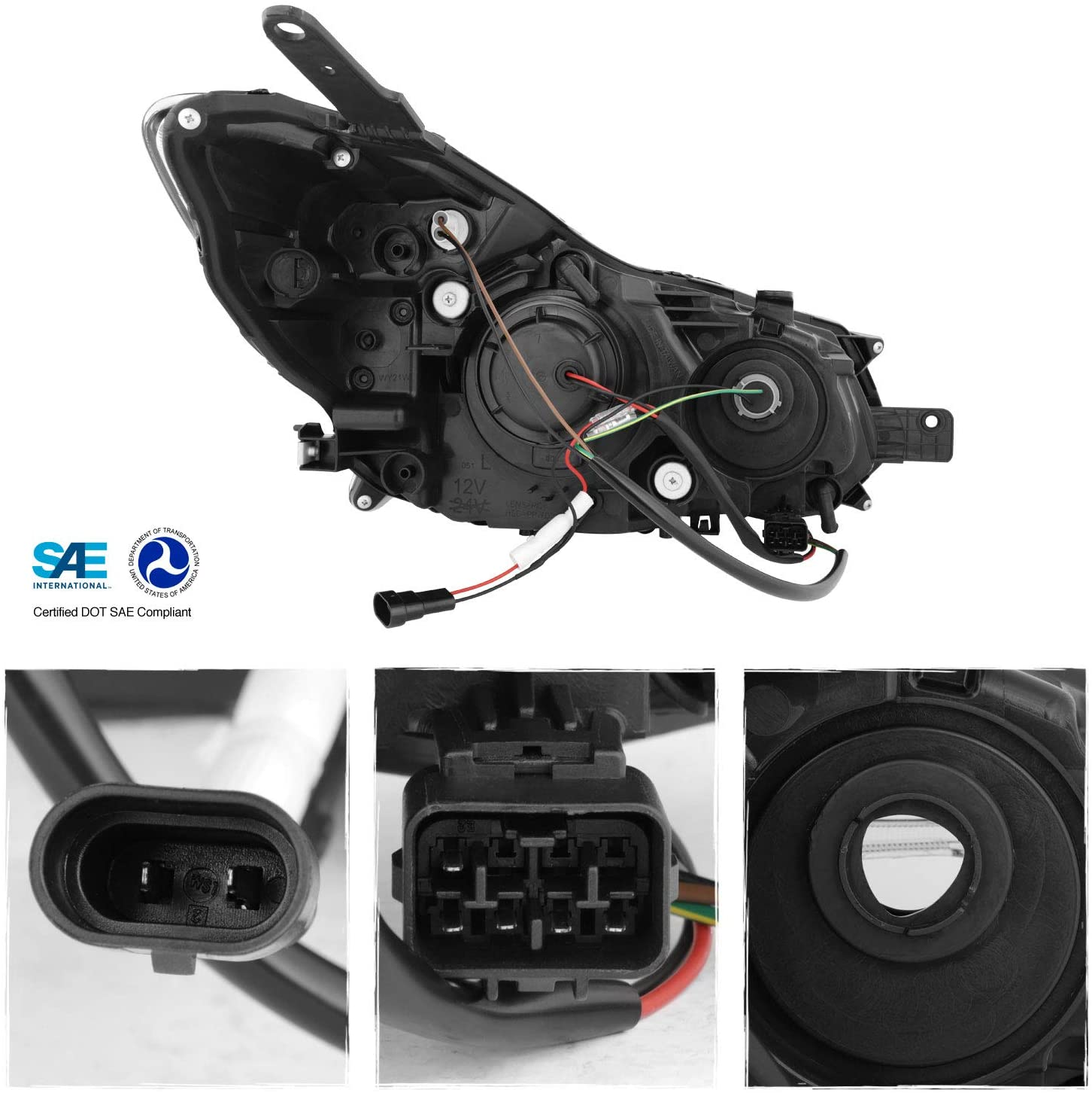 For 13-15 Subaru Impreza Crosstrek XV LED Light Tube Projector Black Headlights