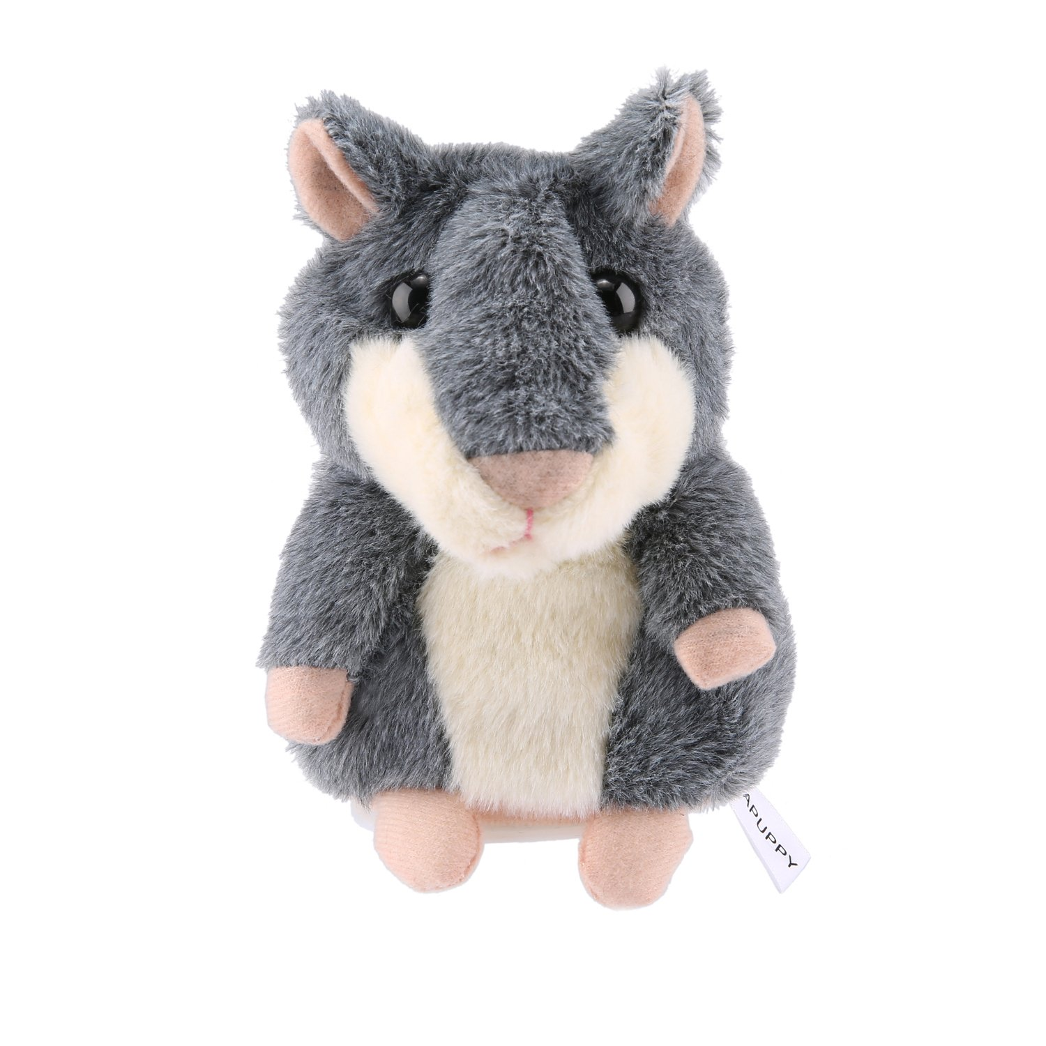 APUPPY Mimicry Pet Talking Hamster Repeats What You Say Plush Animal Toy Electronic Hamster Mouse for Boy and Girl Gift, 3 x 5.7 inches( Gray )