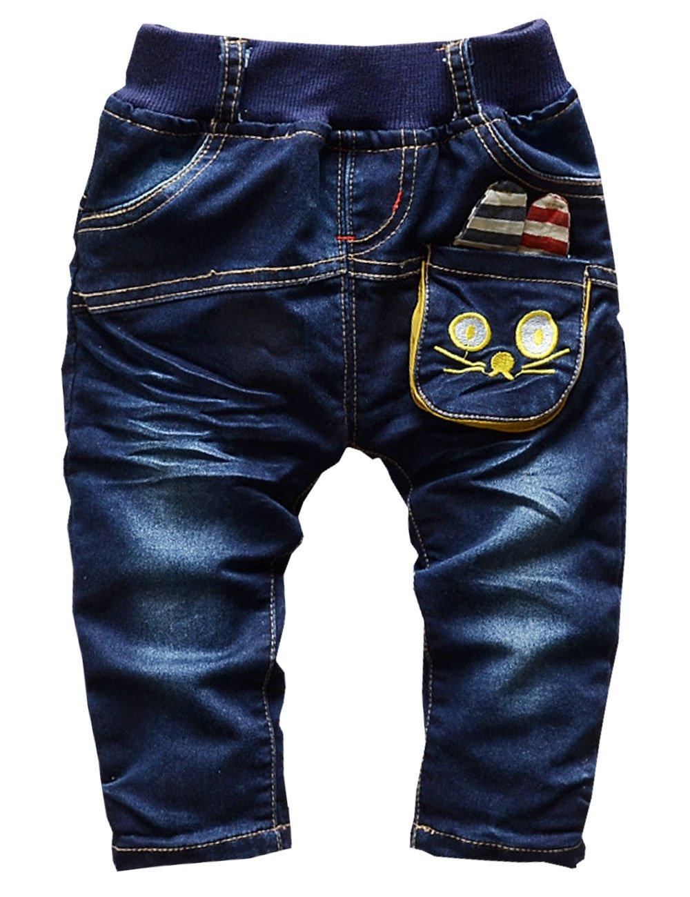 CM-Kid Little Girls Animal Stripe Print Jeans Denim Harem Long Pants