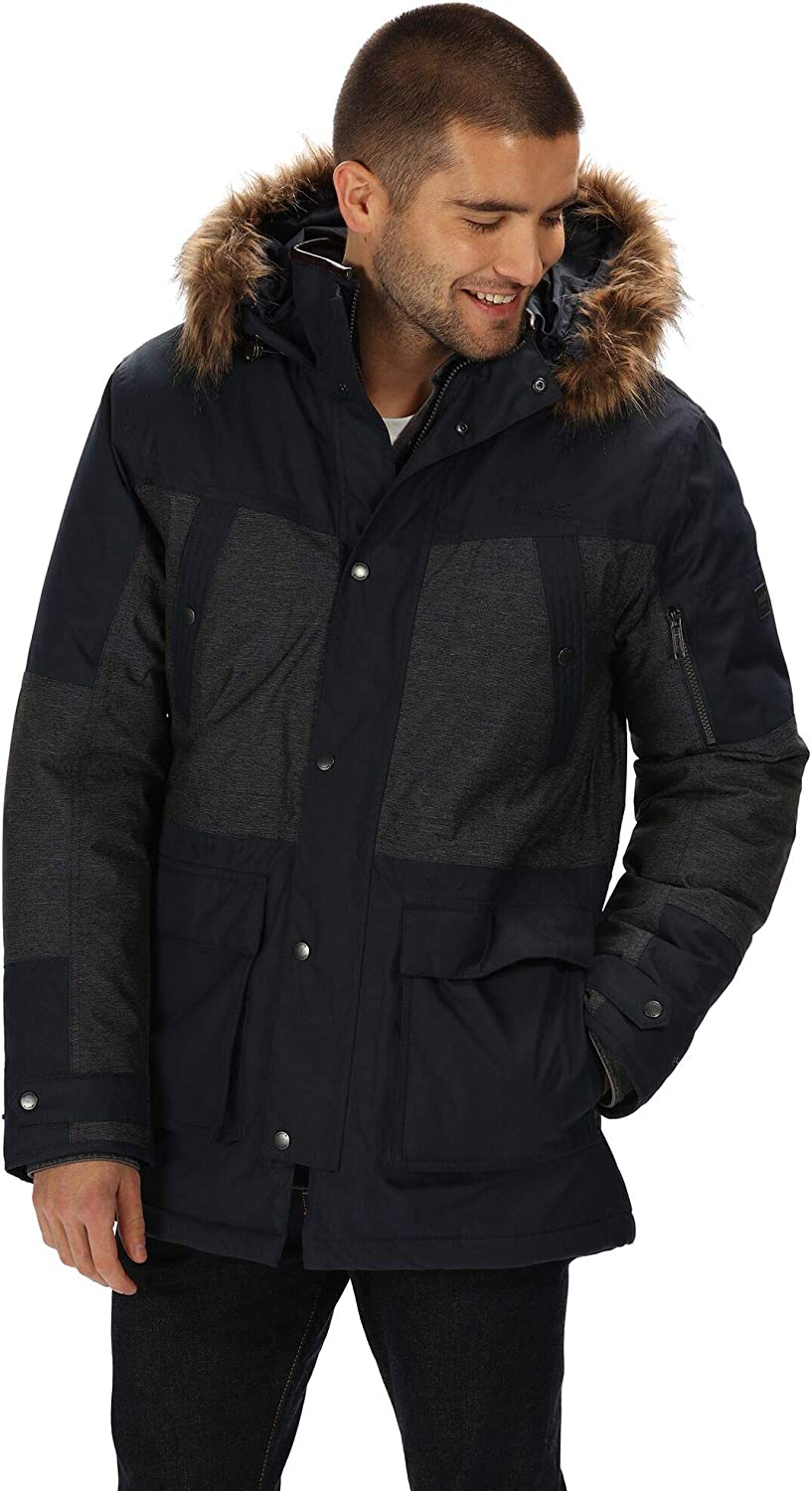 Regatta Mens Aalto Waterproof /& Breathable Heavyweight Down-touch Insulated Faux Fur Hooded Winter Parka Jacket Waterproof