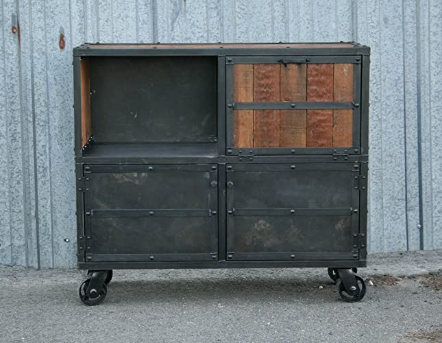 Industrial Reclaimed Wood Bar Cabinet. Modern Liquor Cabinet.