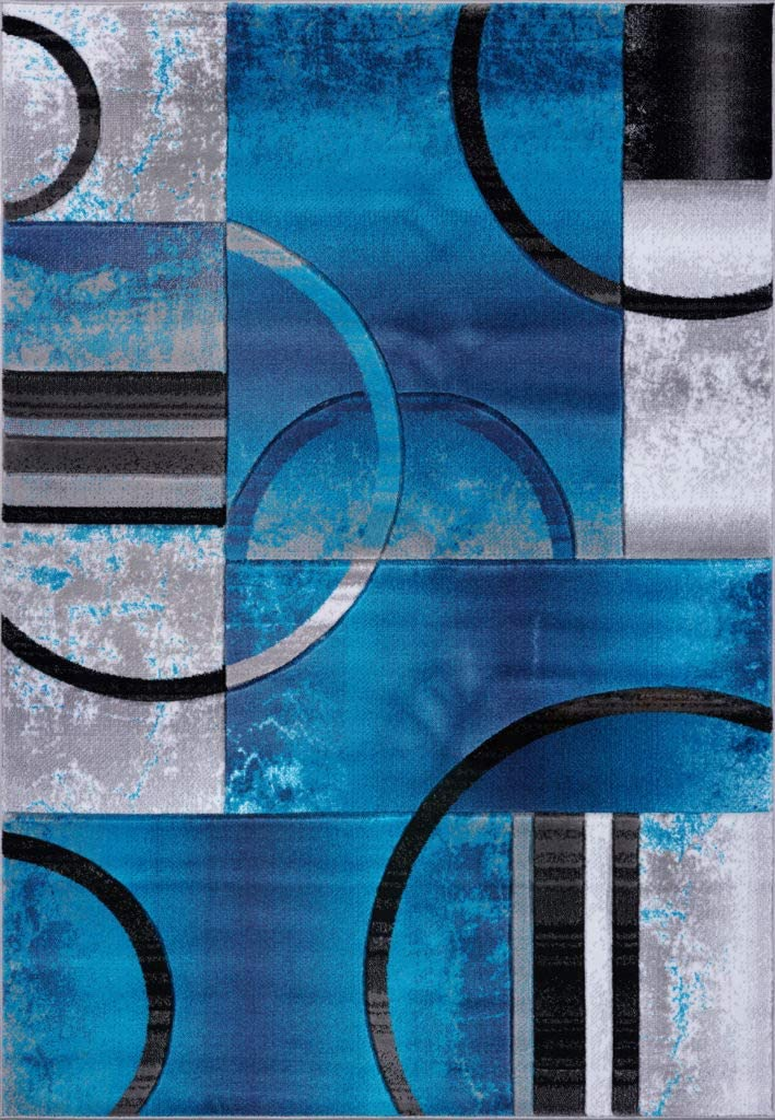 Ladole Rugs Adonis Collection Geometric Turquoise Balck And Grey Polypropylene Area Rug Carpet 7x10 6 5 X 9 5 200cm X 290cm Kitchen Dining