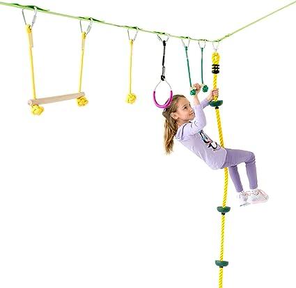 Ninja Warrior Hanging Obstacle Course Slackline Monkey Bars Kit for Kids