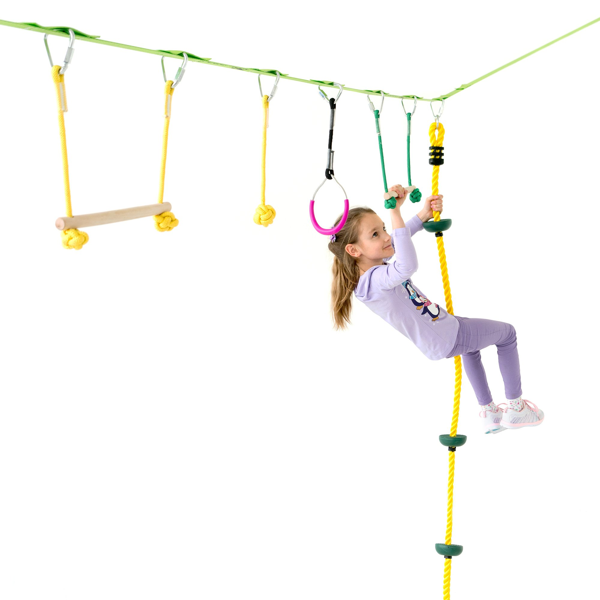 Powerfly Ninja Hanging Obstacle Course Kit for Kids - 36' Slackline, 2 Monkey Bars, 2 Gymnastics Rings, 3 Fists, Climbing Rope - Obstacles Line Equipment Set for Backyard Playground Activities