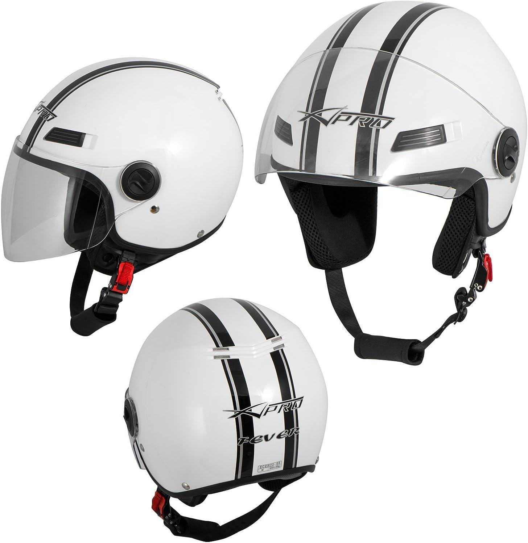 Motorradhelm Motorrad Roller Offenes Jet Helm Viser Ece 22 05 Weiss L Auto