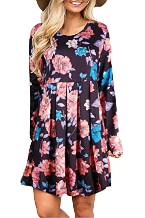 1fa09647177c Landove Womens Casual Bohemian Long Sleeve Loose O-Neck Chic Floral Pleated  Swing Print Swing Midi A-Line Tunic T-Shirt Dress Summer Party Dresses with  ...