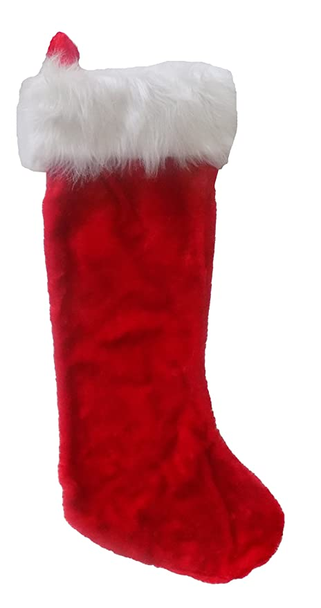 classic red and white plush christmas stocking extra large 28 over 2