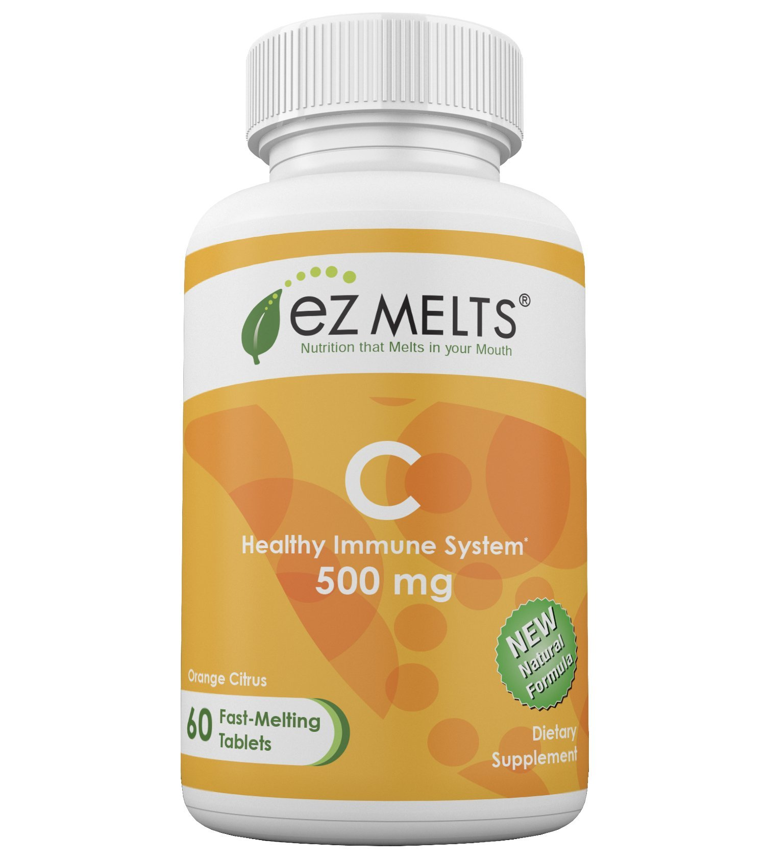EZ Melts C, 500 mg, Dissolvable Vitamins, Vegan, Zero Sugar, Natural Orange Flavor, 60 Fast Melting Tablets, Vitamin C Supplement