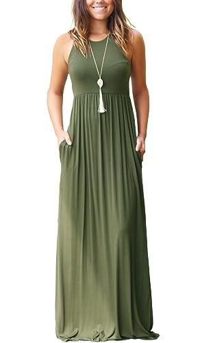 VIISHOW Frauen-lange Hülsen-lose einfache Maxi kleidet beiläufige ...