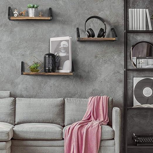 PNNP Etag/ères Murales Metal Lot de 3 Etageres Murales Deco Etagere Flottante Murale R/étro Cuisine Chambre Dor Rangement Mural pour Le Salon
