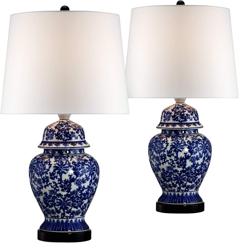 Asian Table Lamps Set of 2 Porcelain Blue Temple Jar Floral White Drum Shade for Living Room Family Bedroom Bedside - Regency Hill